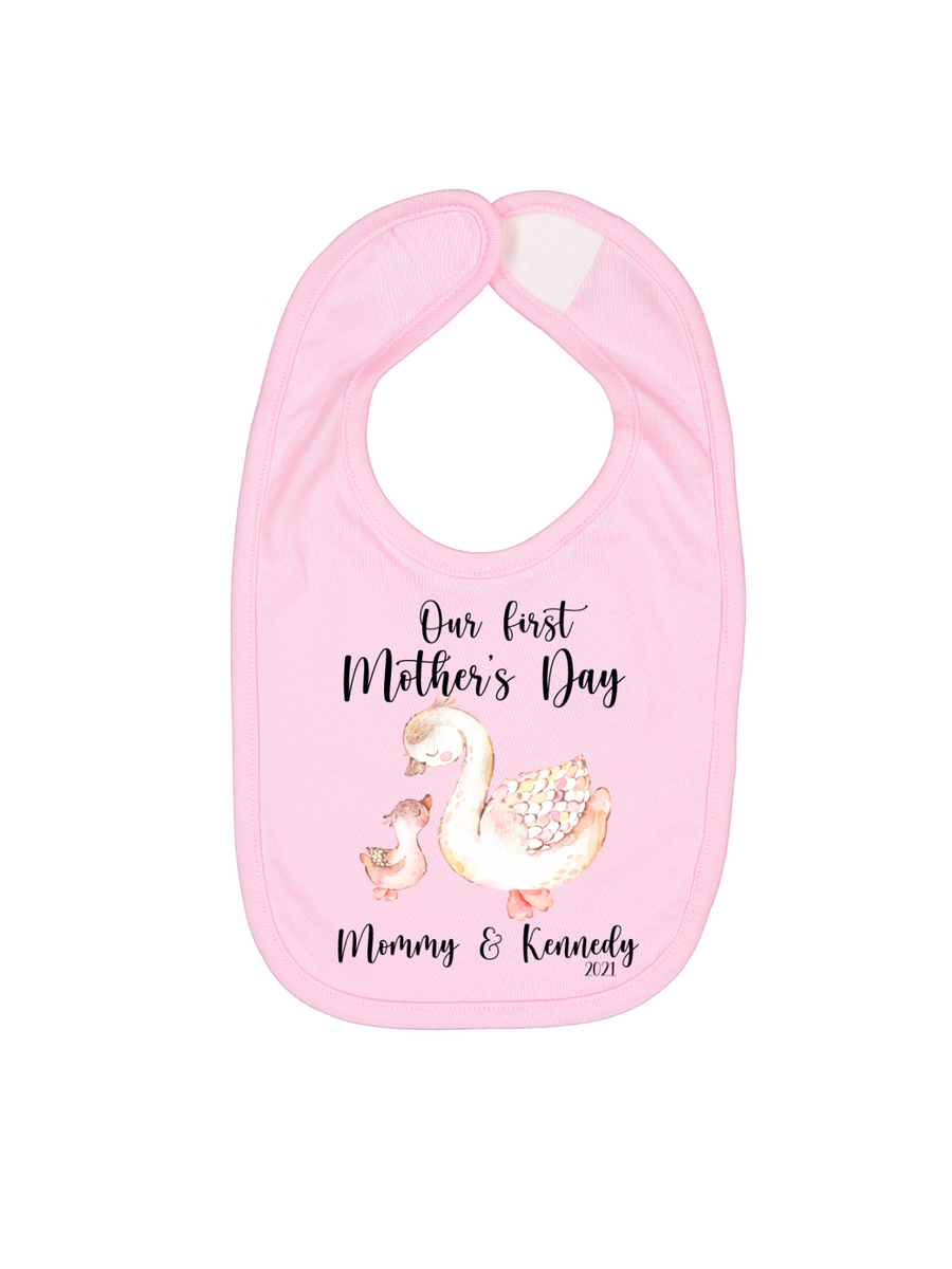 happy Mother's Day personalized pink baby bib