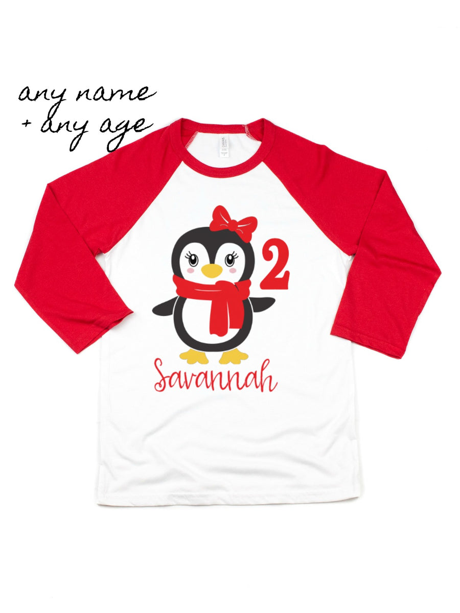 Personalized Penguin Raglan