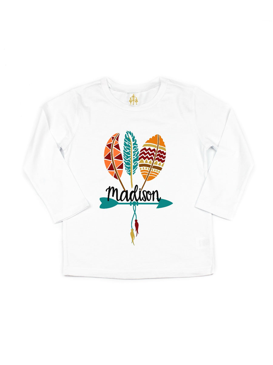 girls personalized thanksgiving feathers shirt