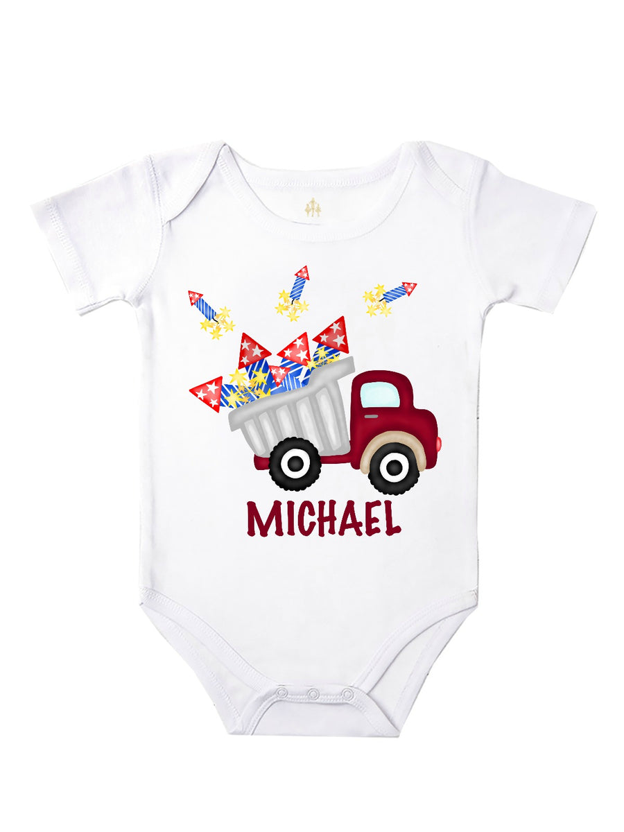 personalized baby body 4th of july fireworks bodysuit