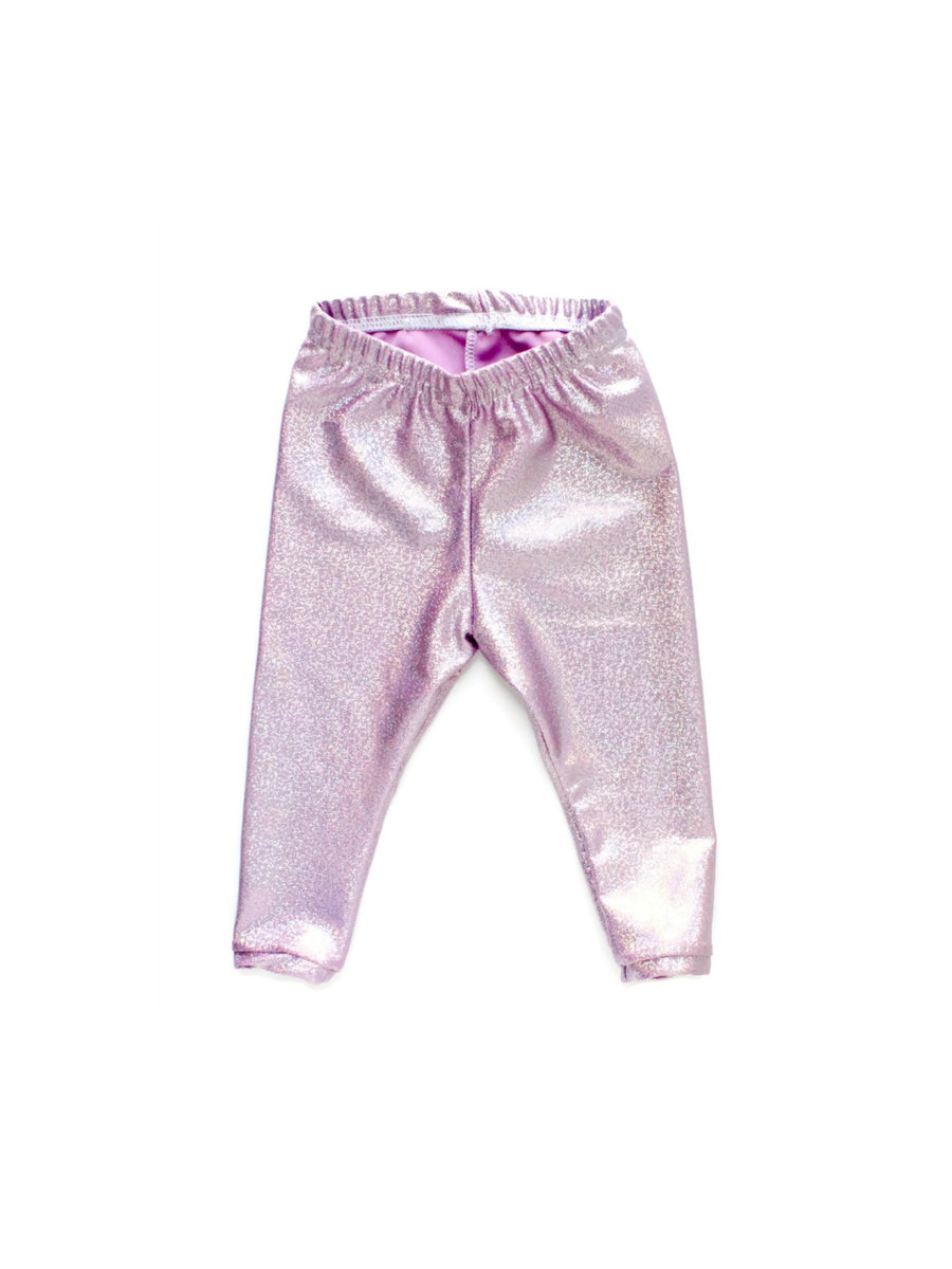 light pink metallic shimmer unicorn girl leggings