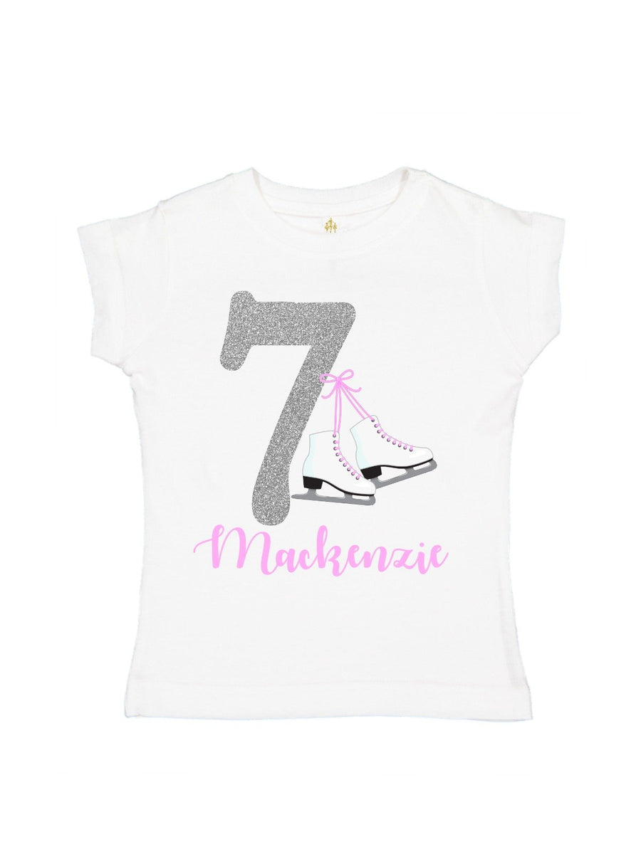 girls ice skating birthday shirt