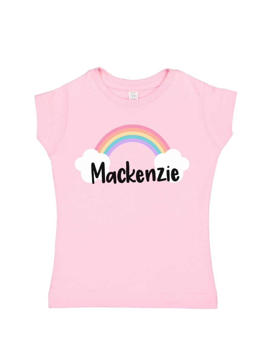personalized rainbow and clouds girls shirt