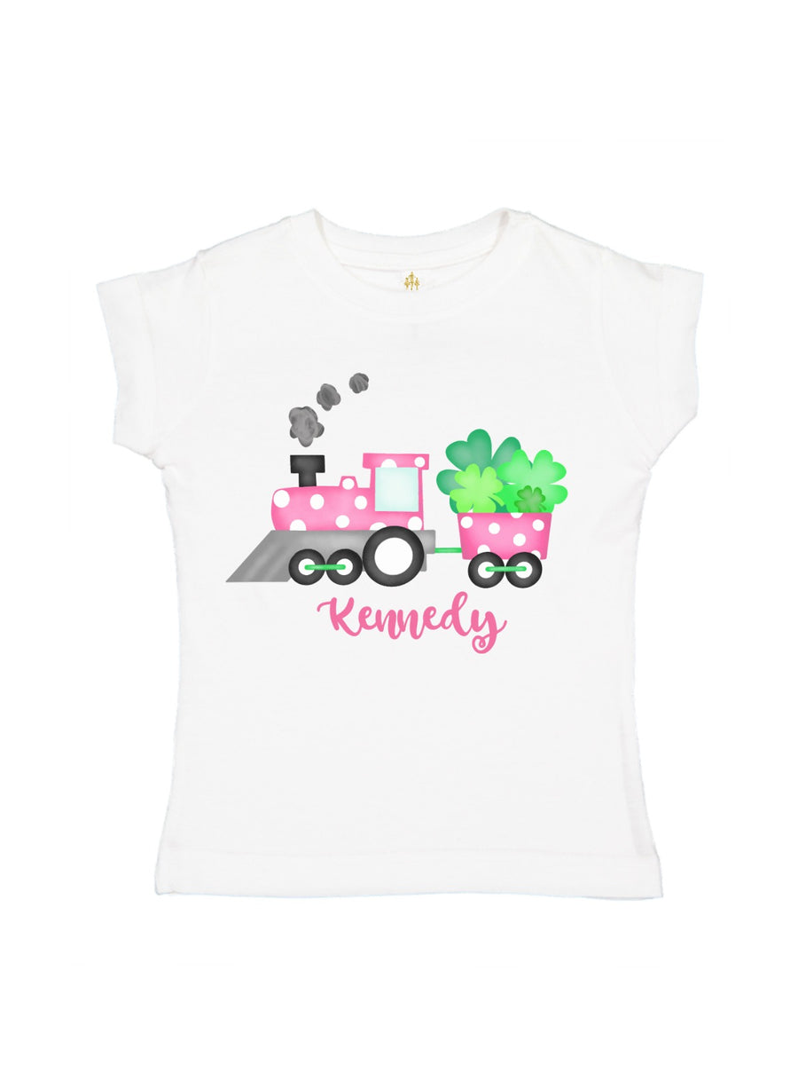 girls personalized polka dot st. patrick's day train shirt