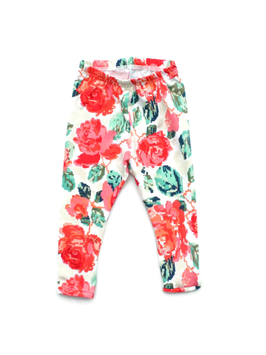 pixelated floral leggings for girls