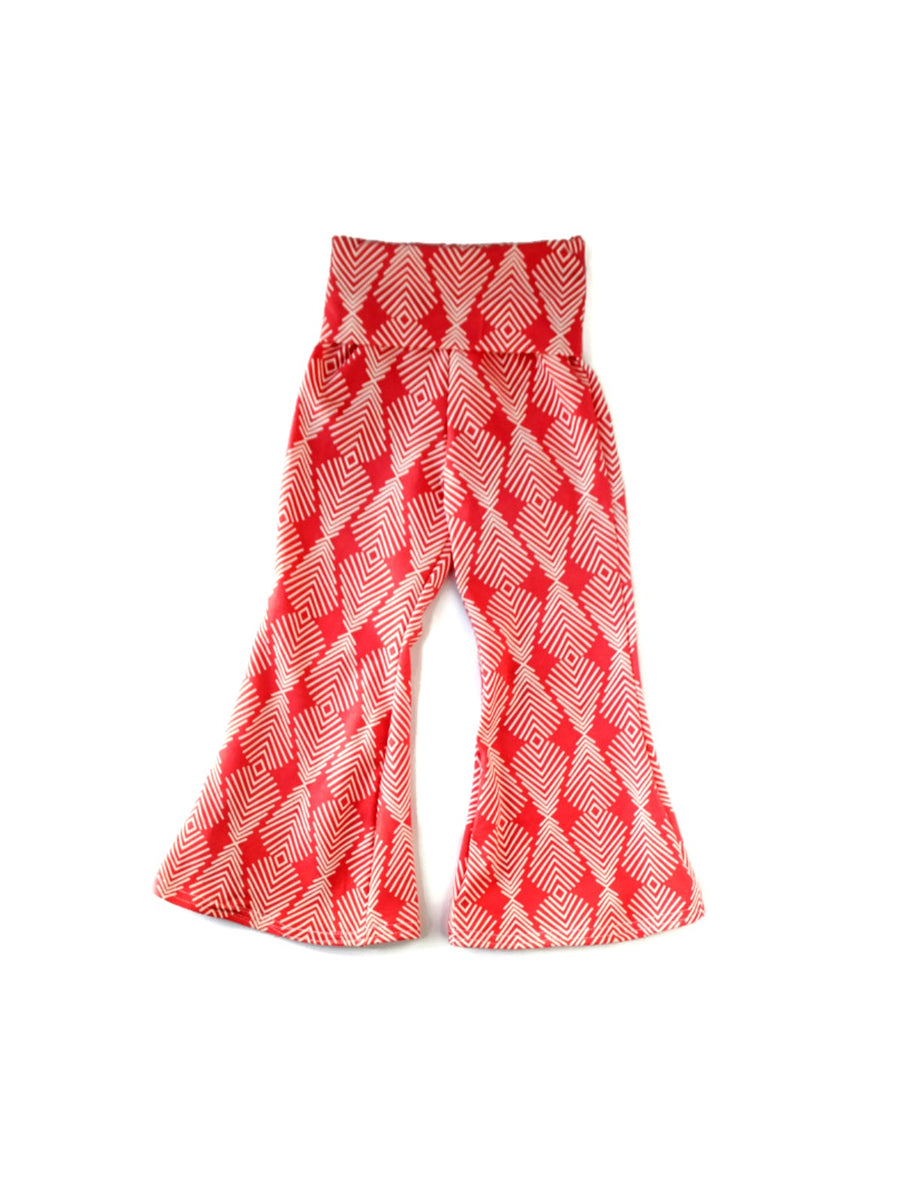 girls coral poppy arrows flare bell bottoms