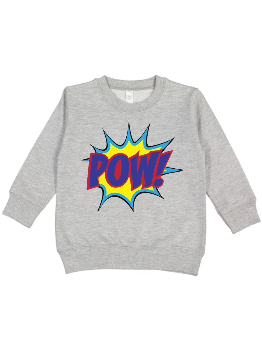 kids POW! superhero heather gray fleece sweatshirt for boys