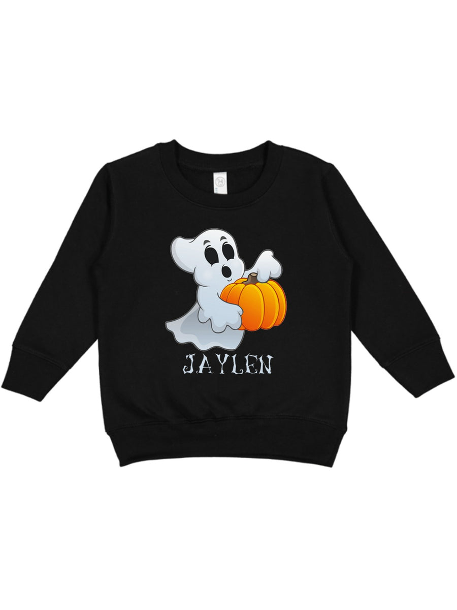 spooky ghost personalized kids unisex Halloween sweatshirt
