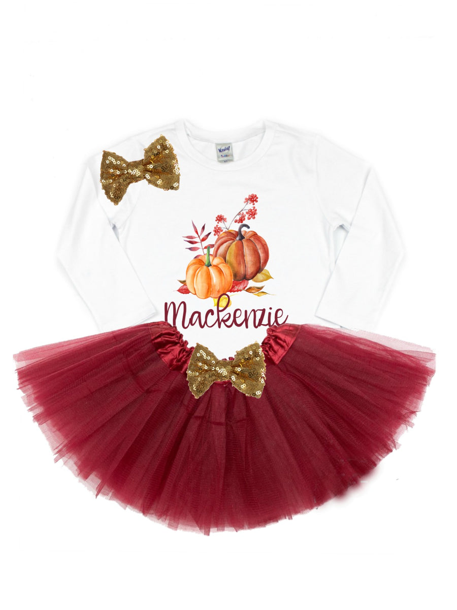 girls personalized pumpkin tutu outfit burgundy and gold