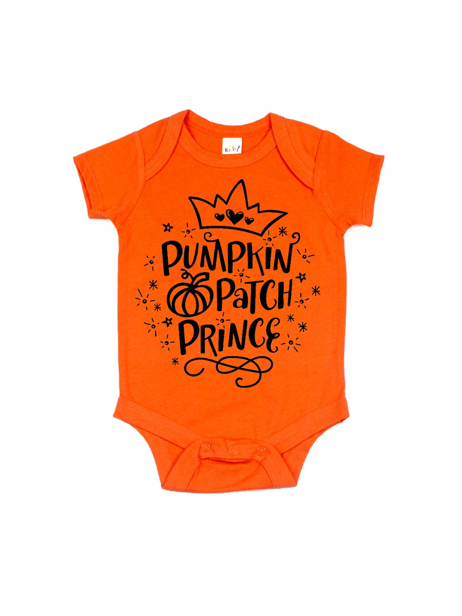 pumpkin patch prince baby bodysuit in orange