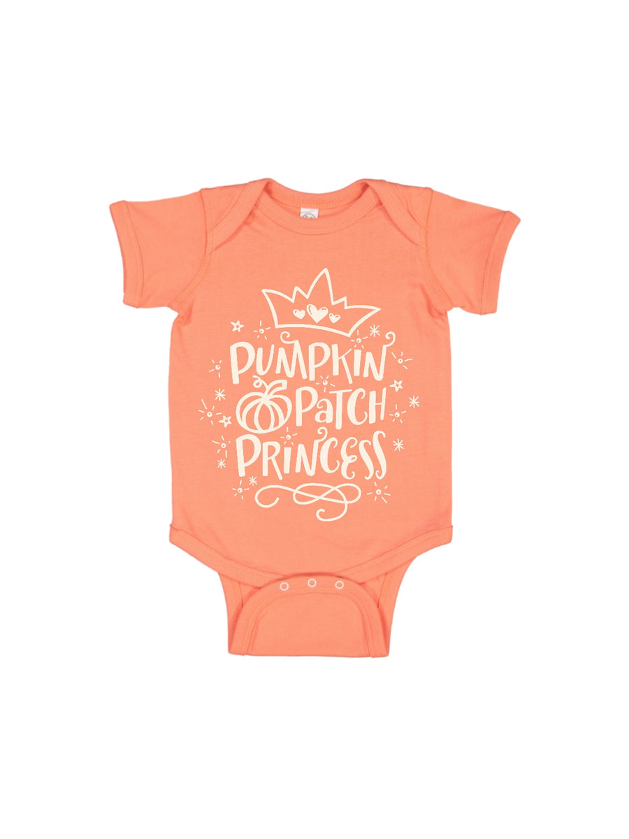 pumpkin patch princess baby bodysuit in peach