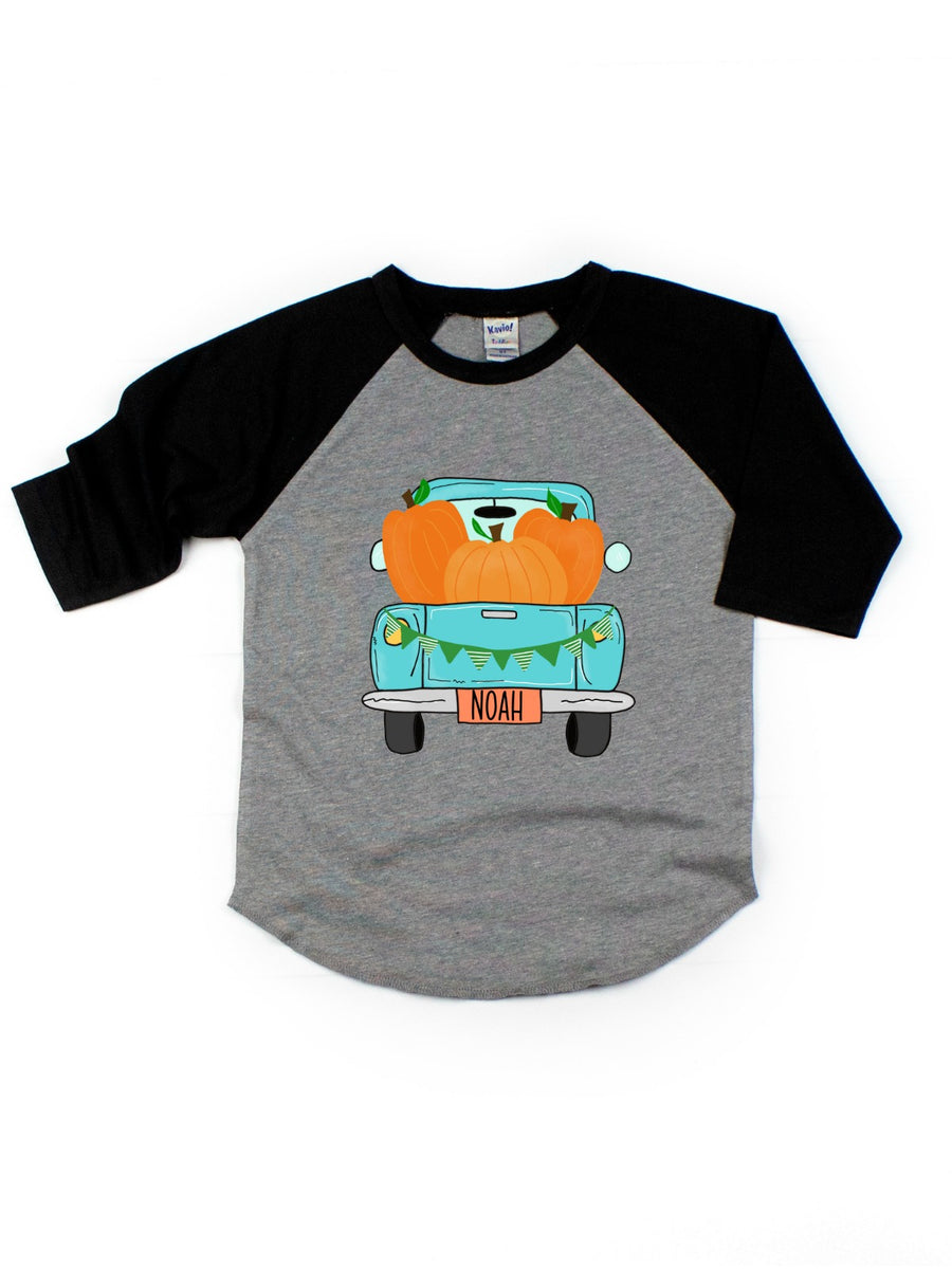 kids personalized fall pumpkin truck raglan shirt