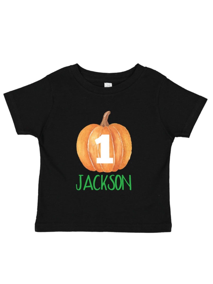 personalized name and age pumpkin birthday shirt