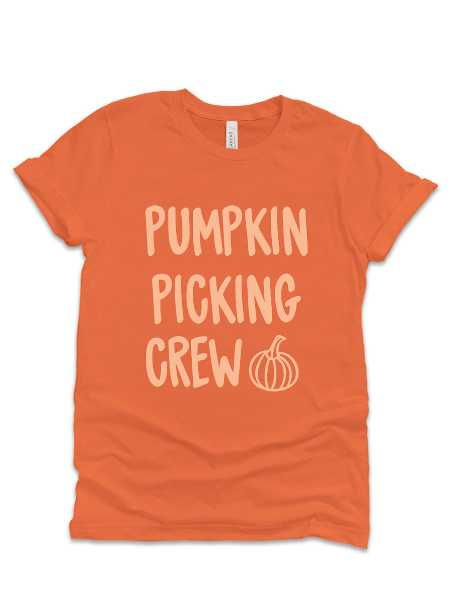 pumpkin picking crew orange adult shirt unisex