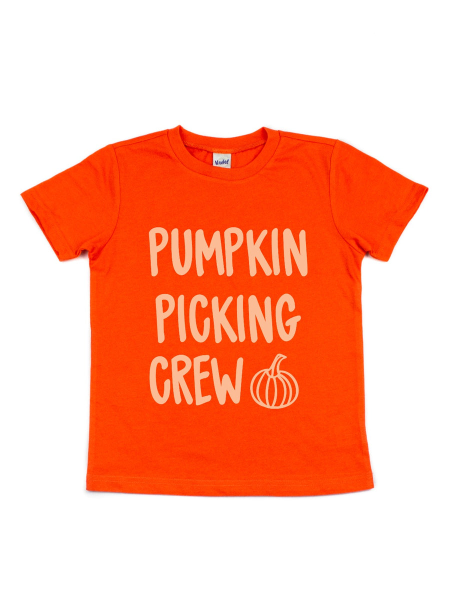 flamingo orange girls pumpkin picking shirt