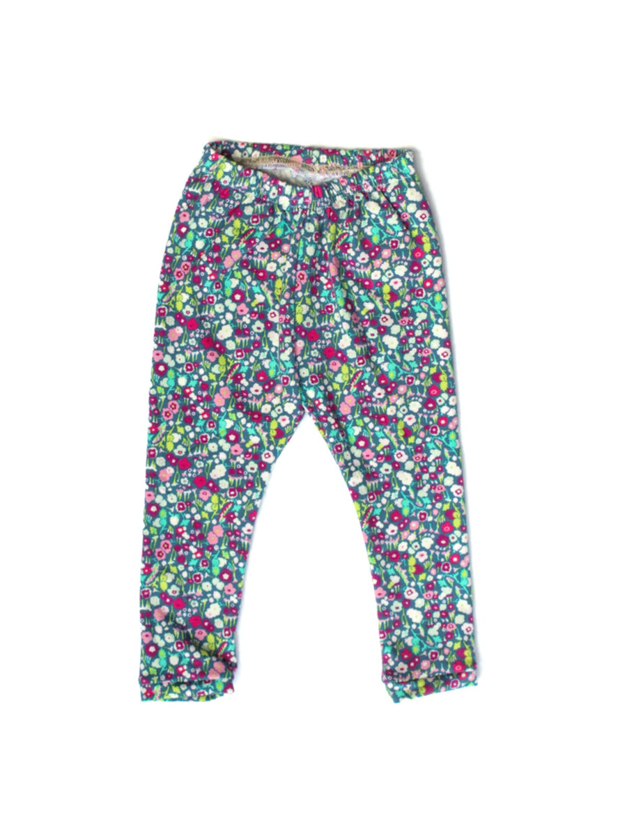 girls floral purple blue pink flower leggings