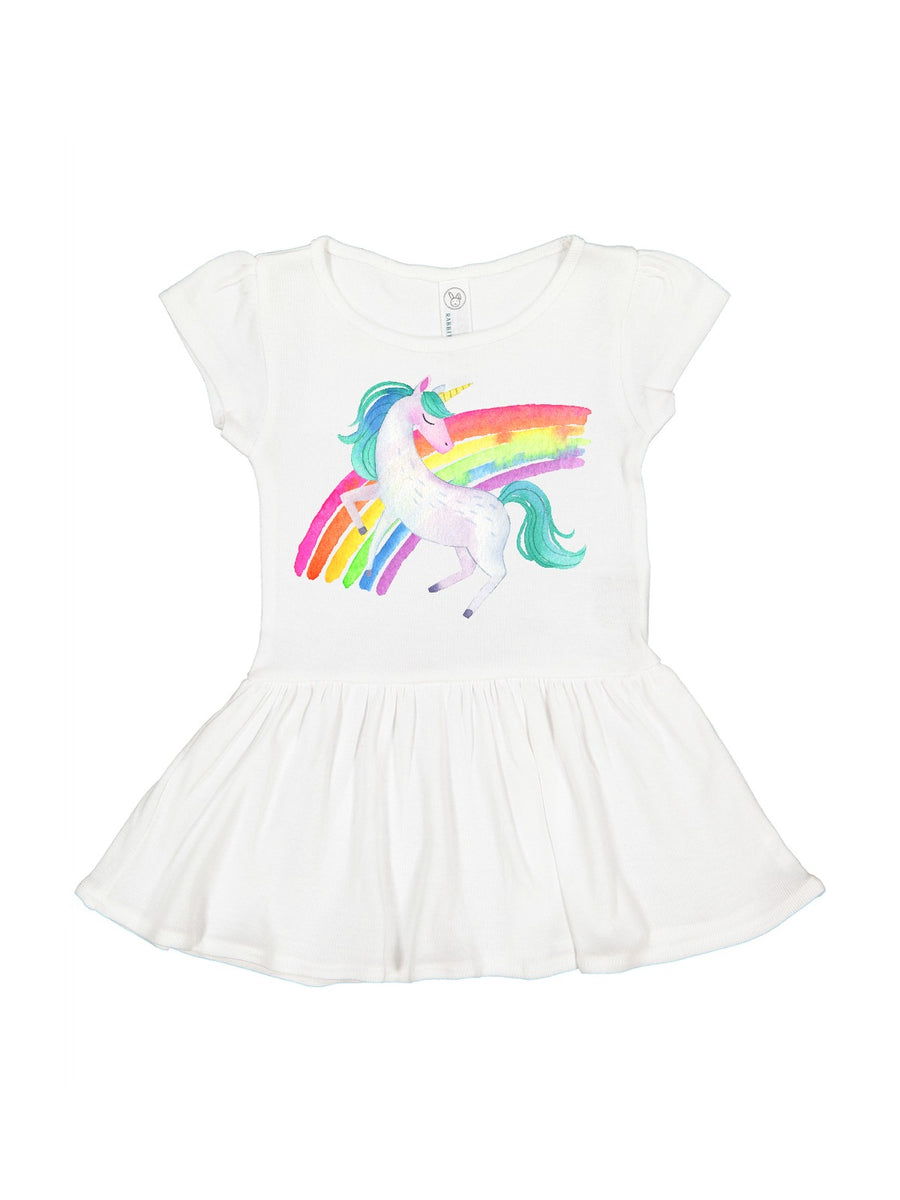 girls unicorn rainbow black dress