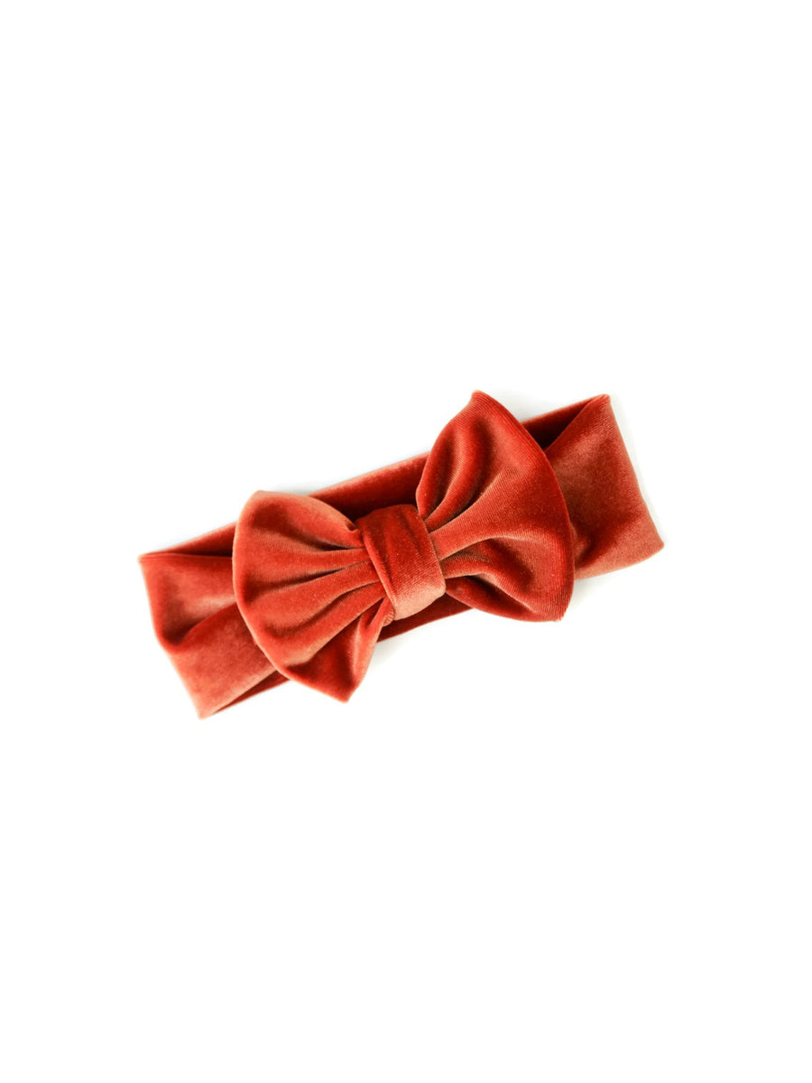rust orange velvet bow headband