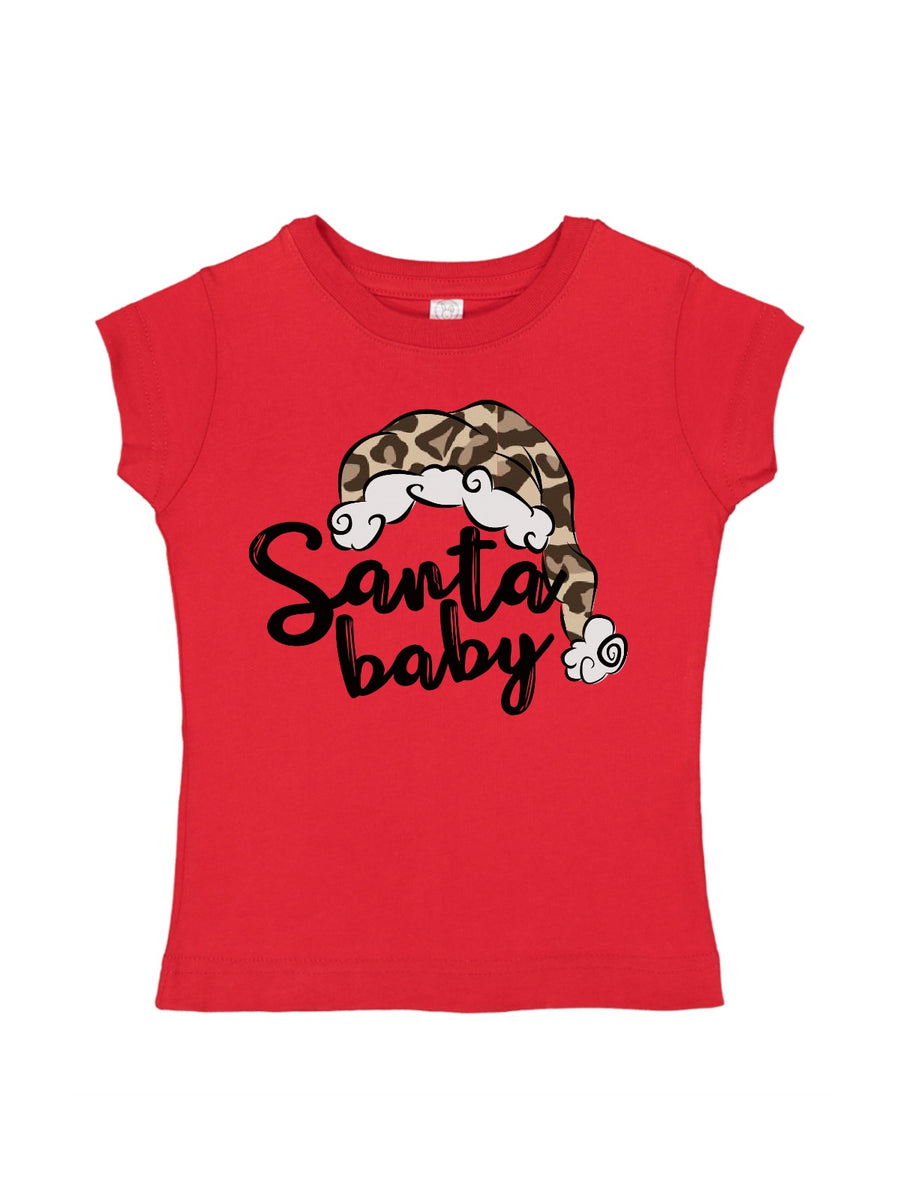 Santa Baby Leopard Girl's Top