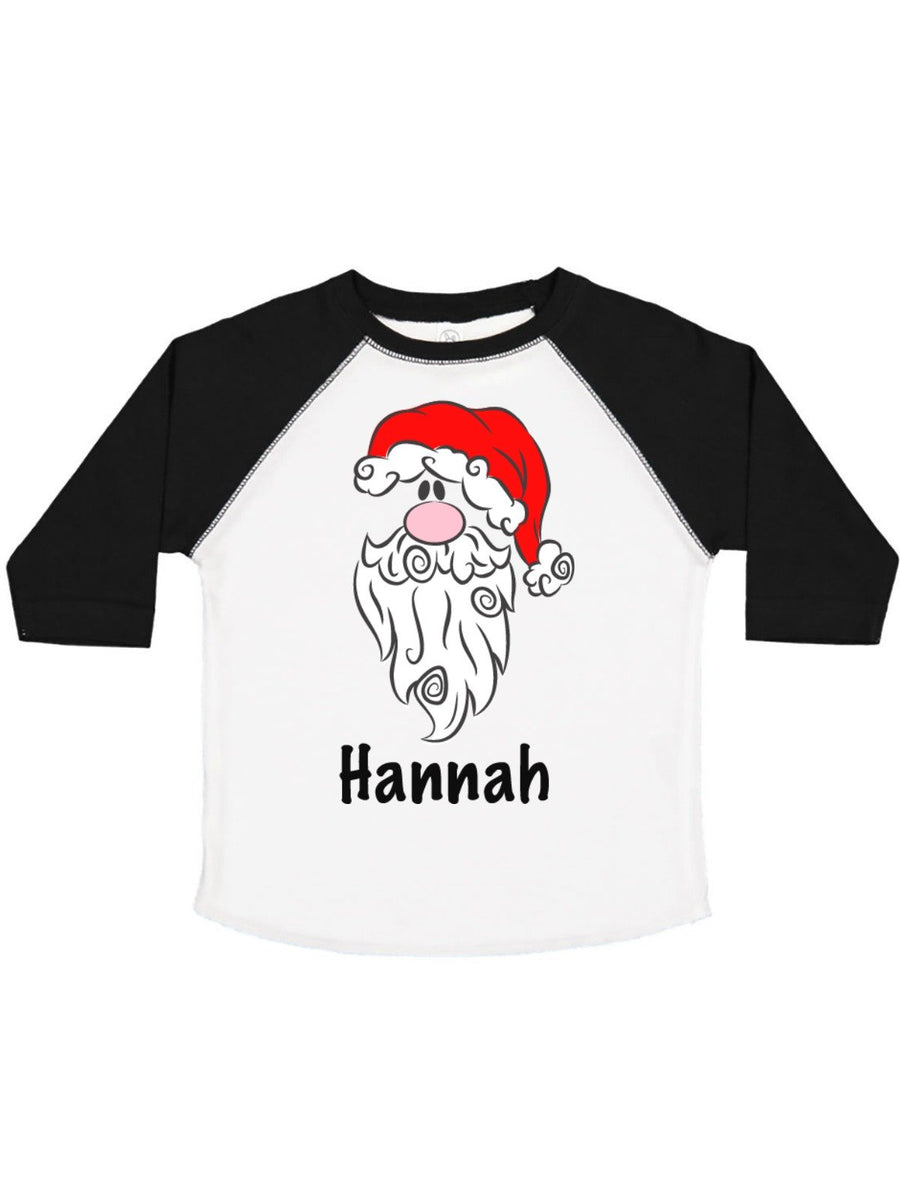 personalized Santa in Santa hat raglan shirt