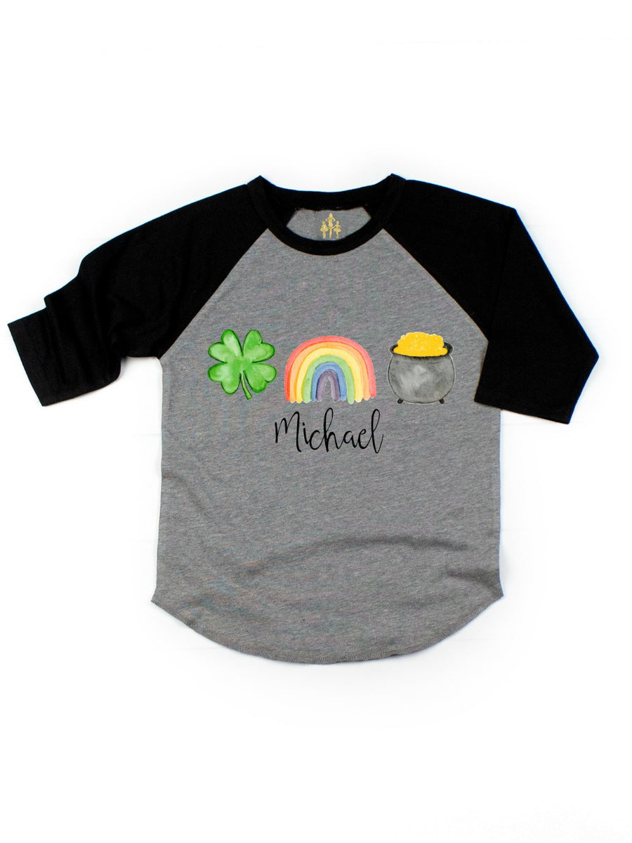 kids st patrick's day shirt personalized four-leaf clover rainbow pot of gold raglan