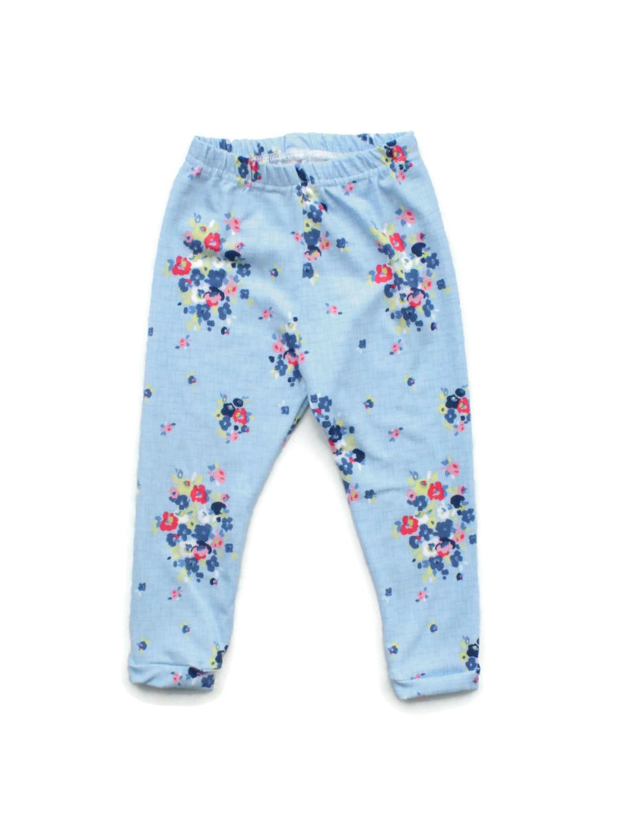 light blue sky blue floral leggings
