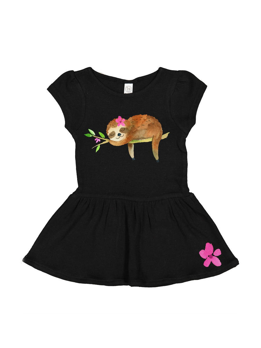 Ballerina pink Sloth dress for baby girls, toddler girls, and big girls