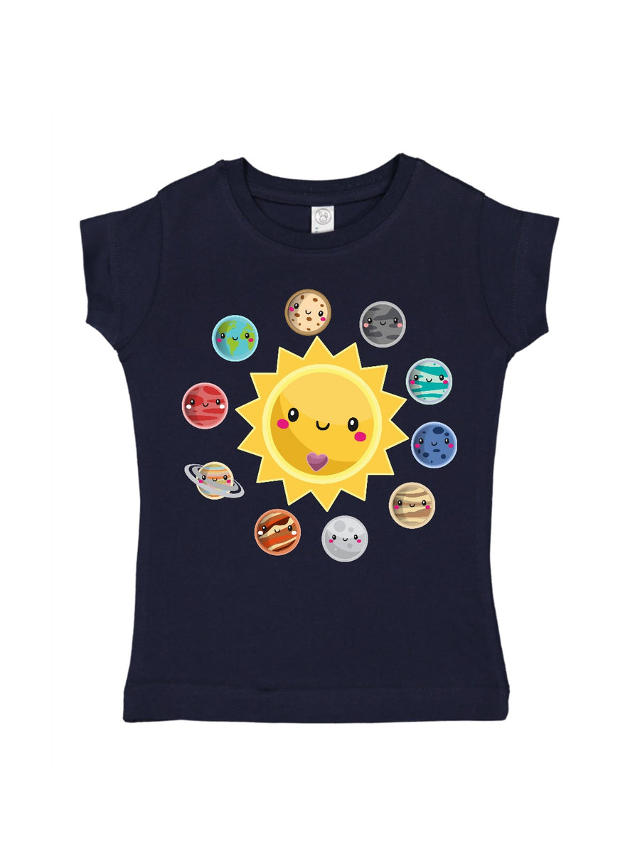 Girl's Solar System Shirt - Navy