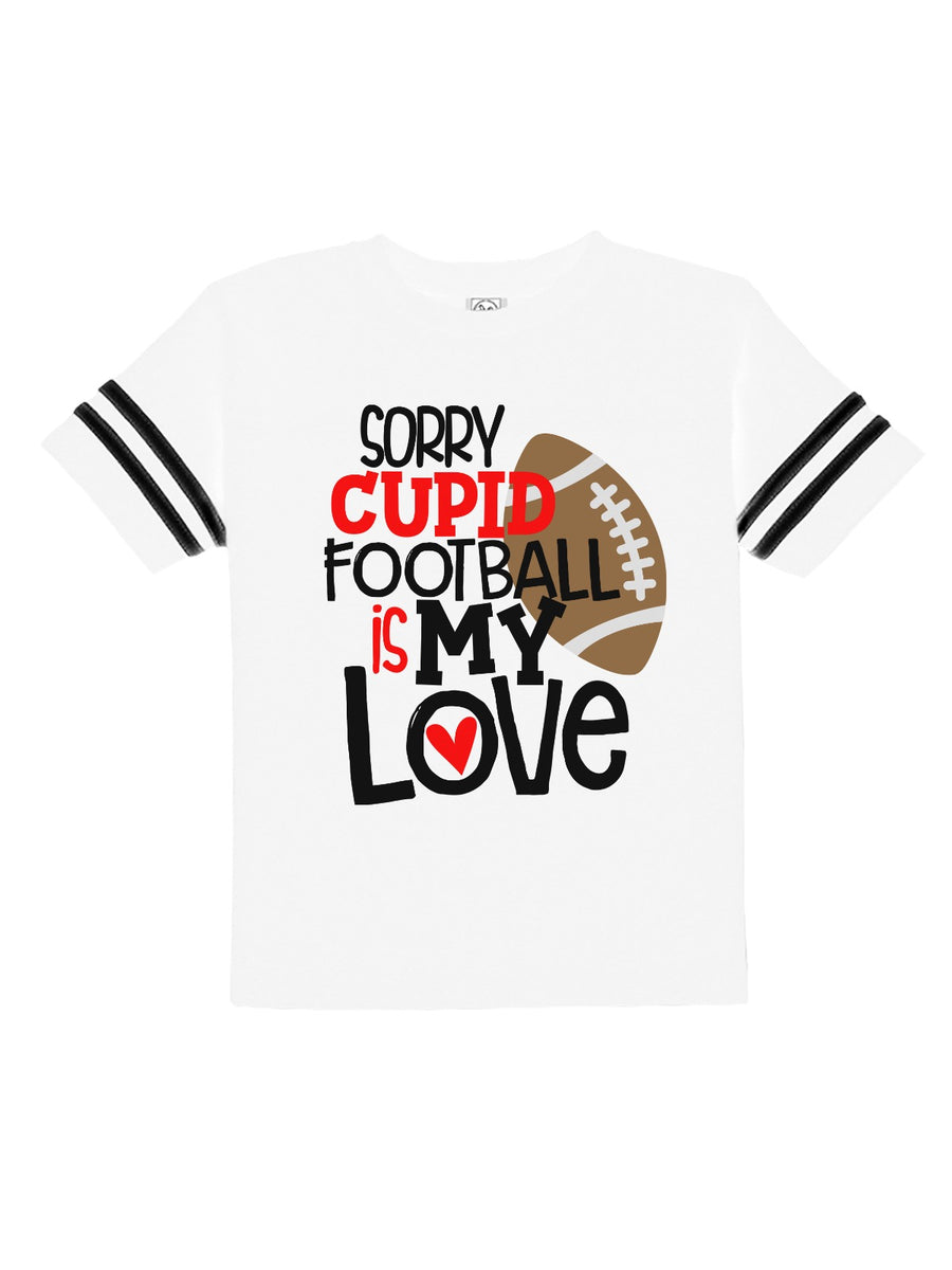 sorry cupid, football is my love baby bodysuit