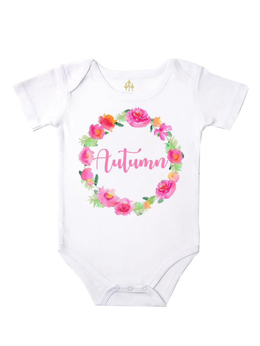 Personalized Spring Wreath Bodysuit