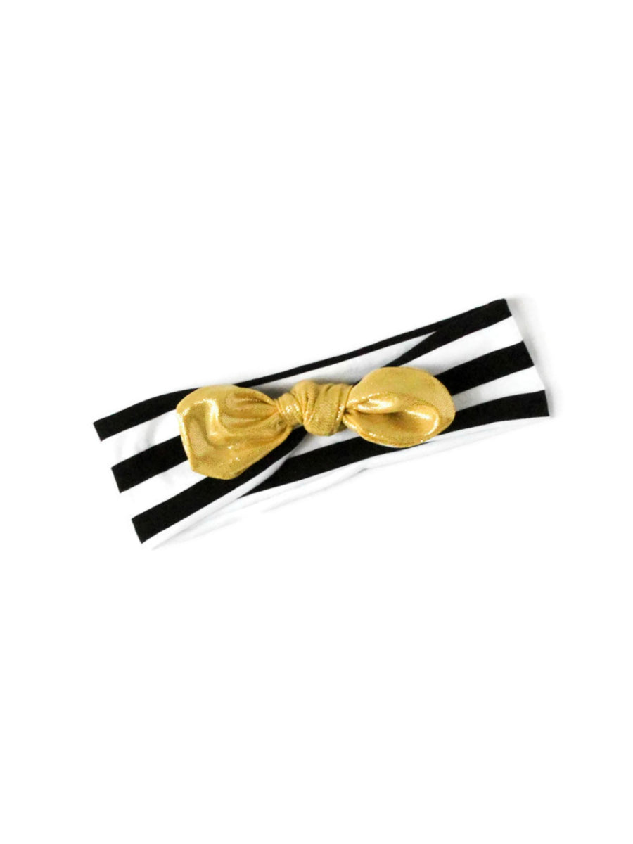 Gold Stripe Top Knot Headband