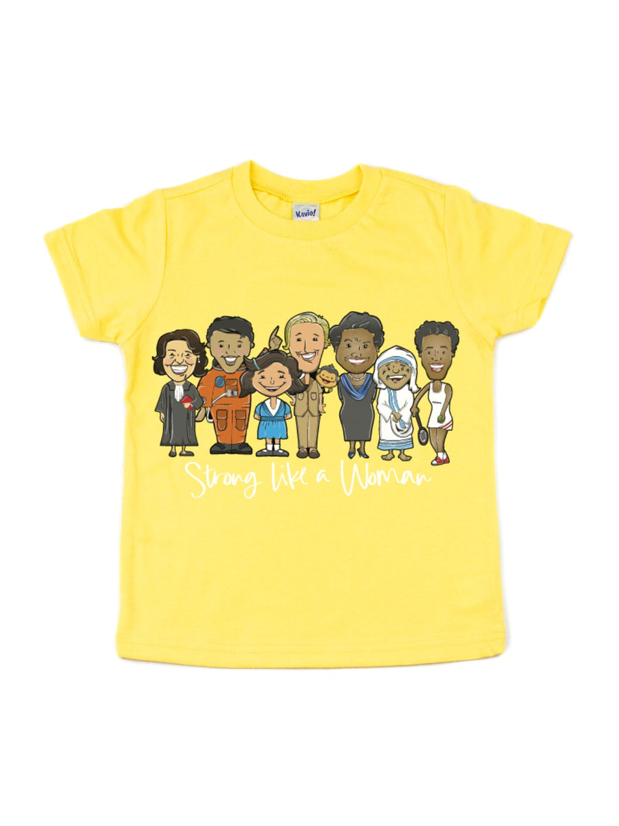 strong like a woman kids women's history month t-shirt mmofphilly