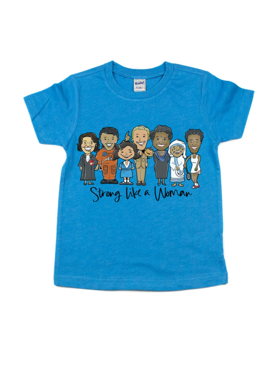 strong like a woman kids blue t-shirt for women's history month