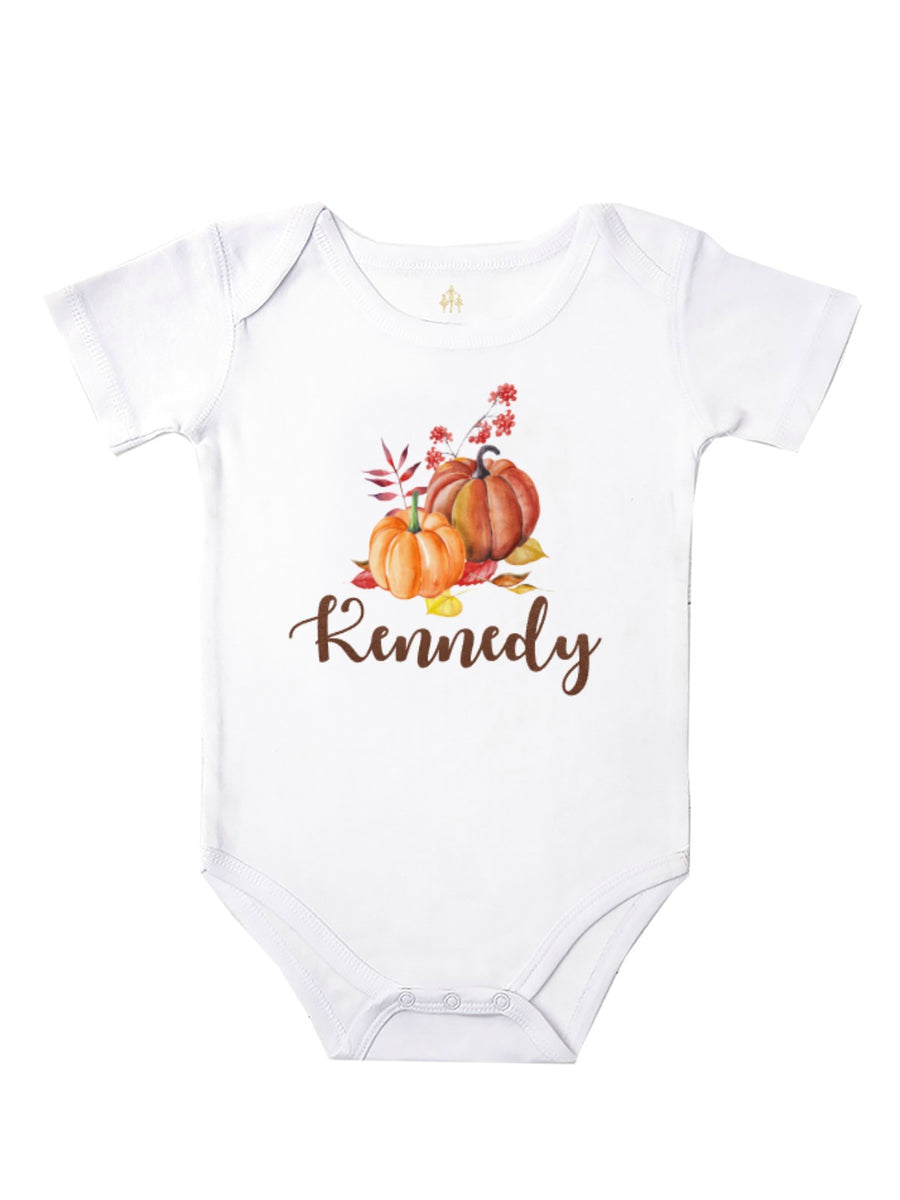 Personalized Watercolor Pumpkin Baby Bodysuit