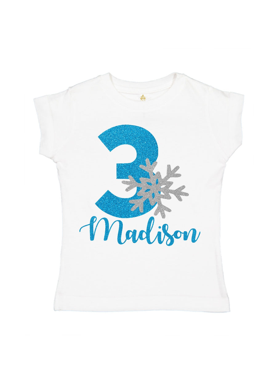 glitter snowflake silver and blue girl's t-shirt