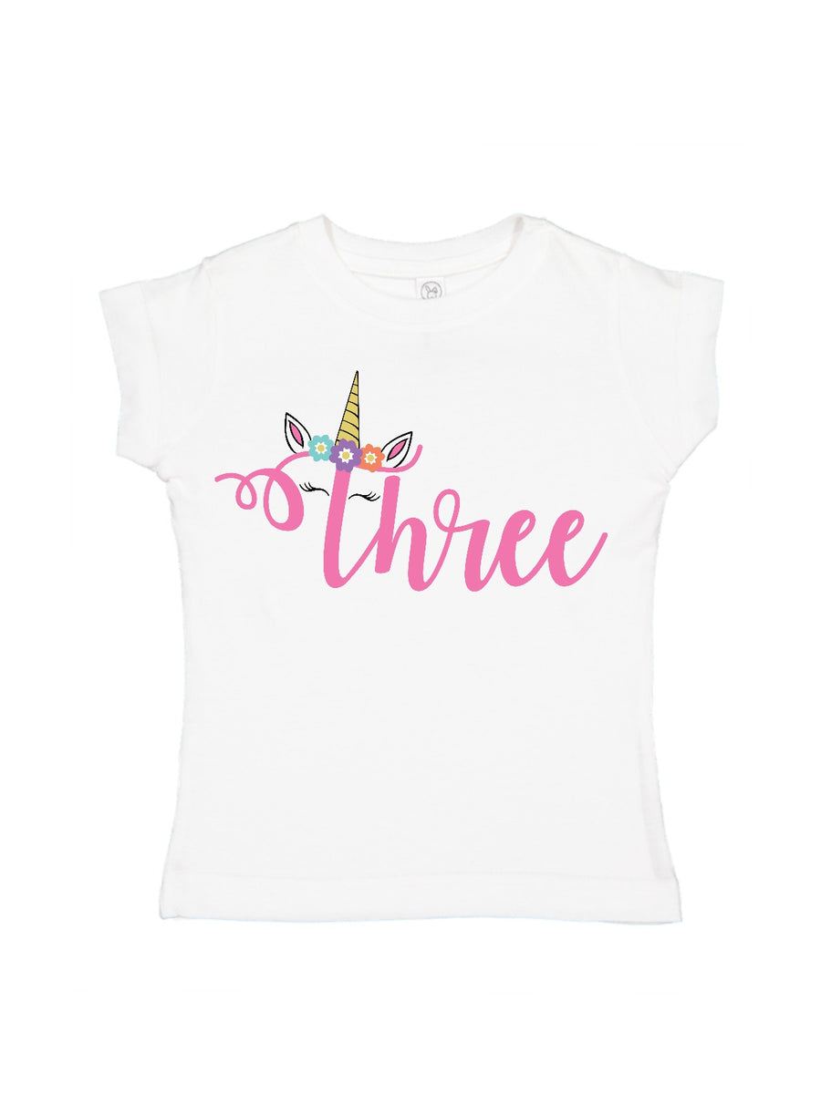 girls 3rd birthday unicorn shirt
