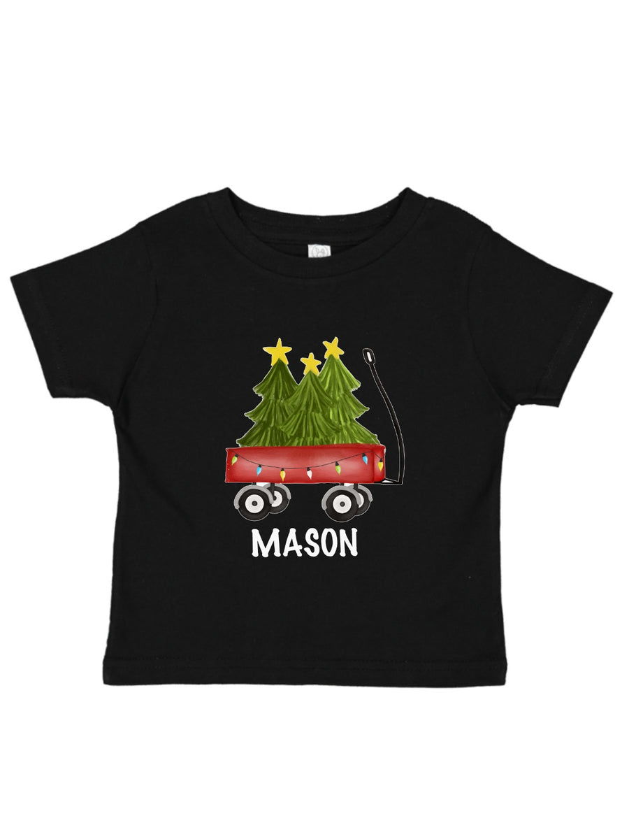 personalized tree wagon kids shirt in black