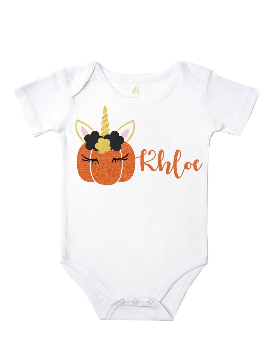 personalized unicorn pumpkin baby bodysuit