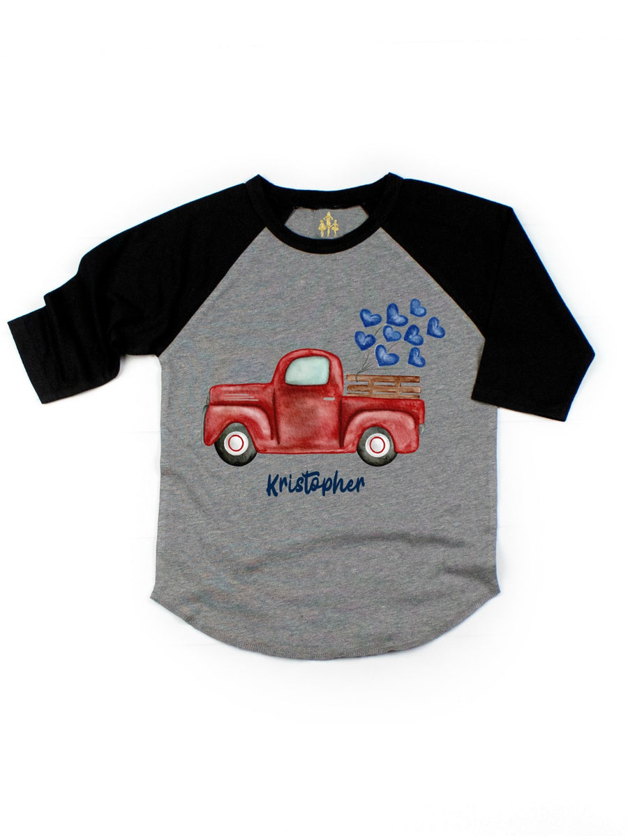 kids vintage red truck blue hearts personalized raglan t-shirt