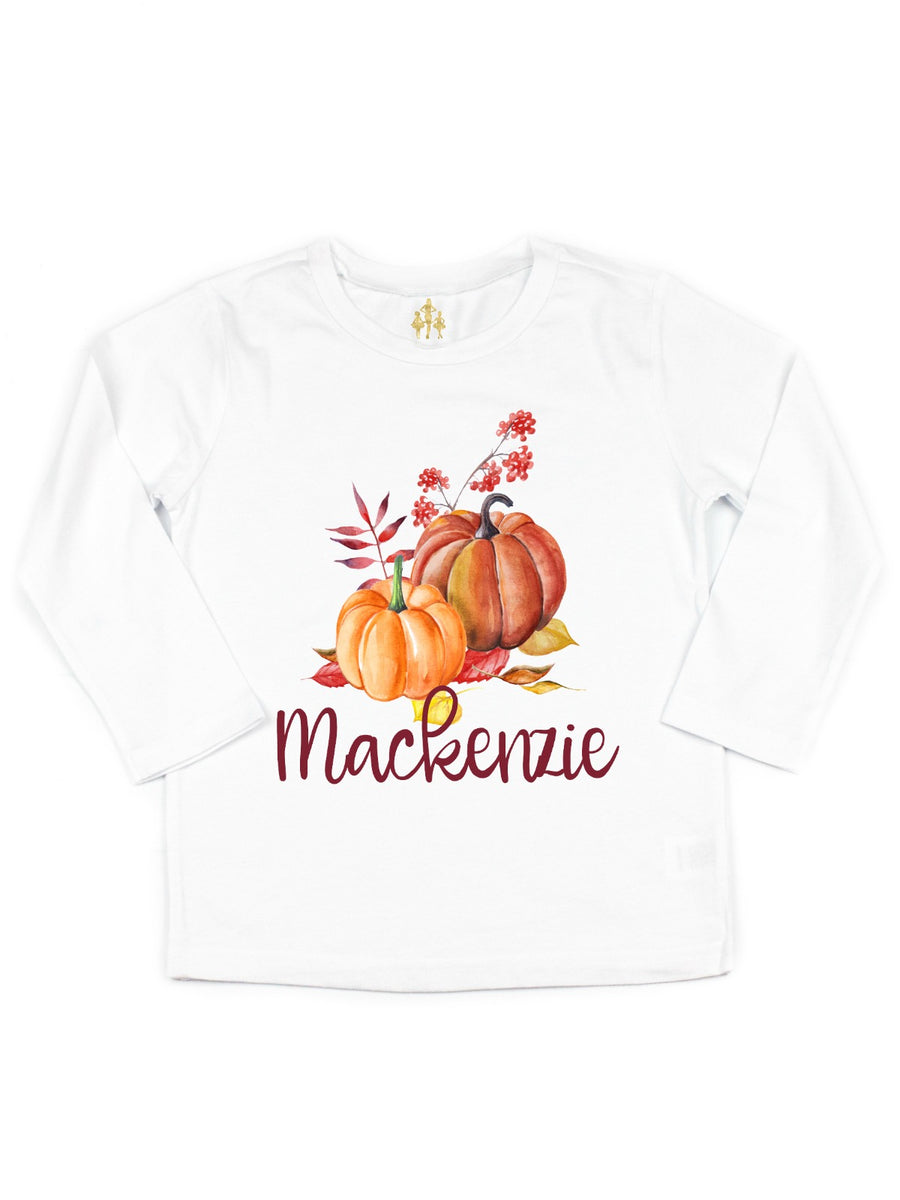 toddler girls big girls custom pumpkin shirt