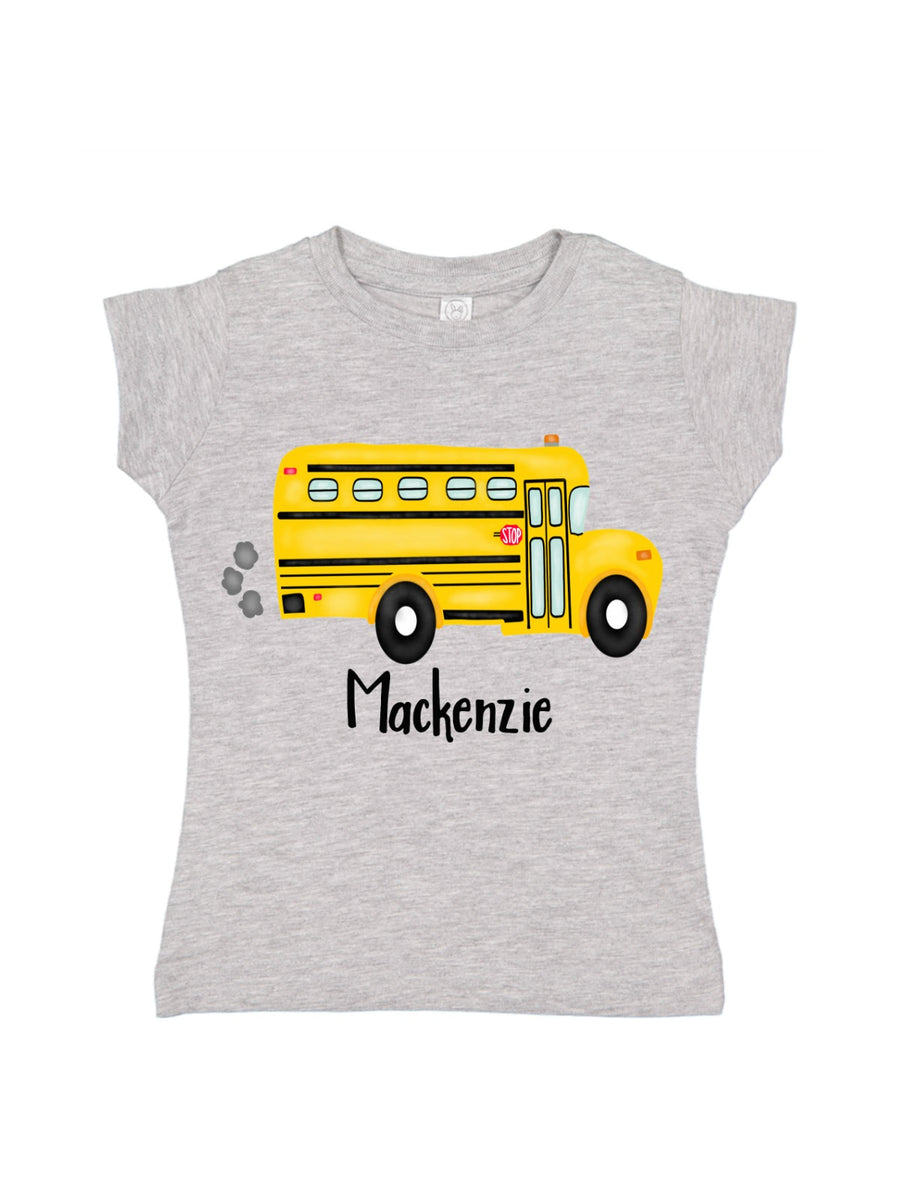 girls school bus shirt for first day of school