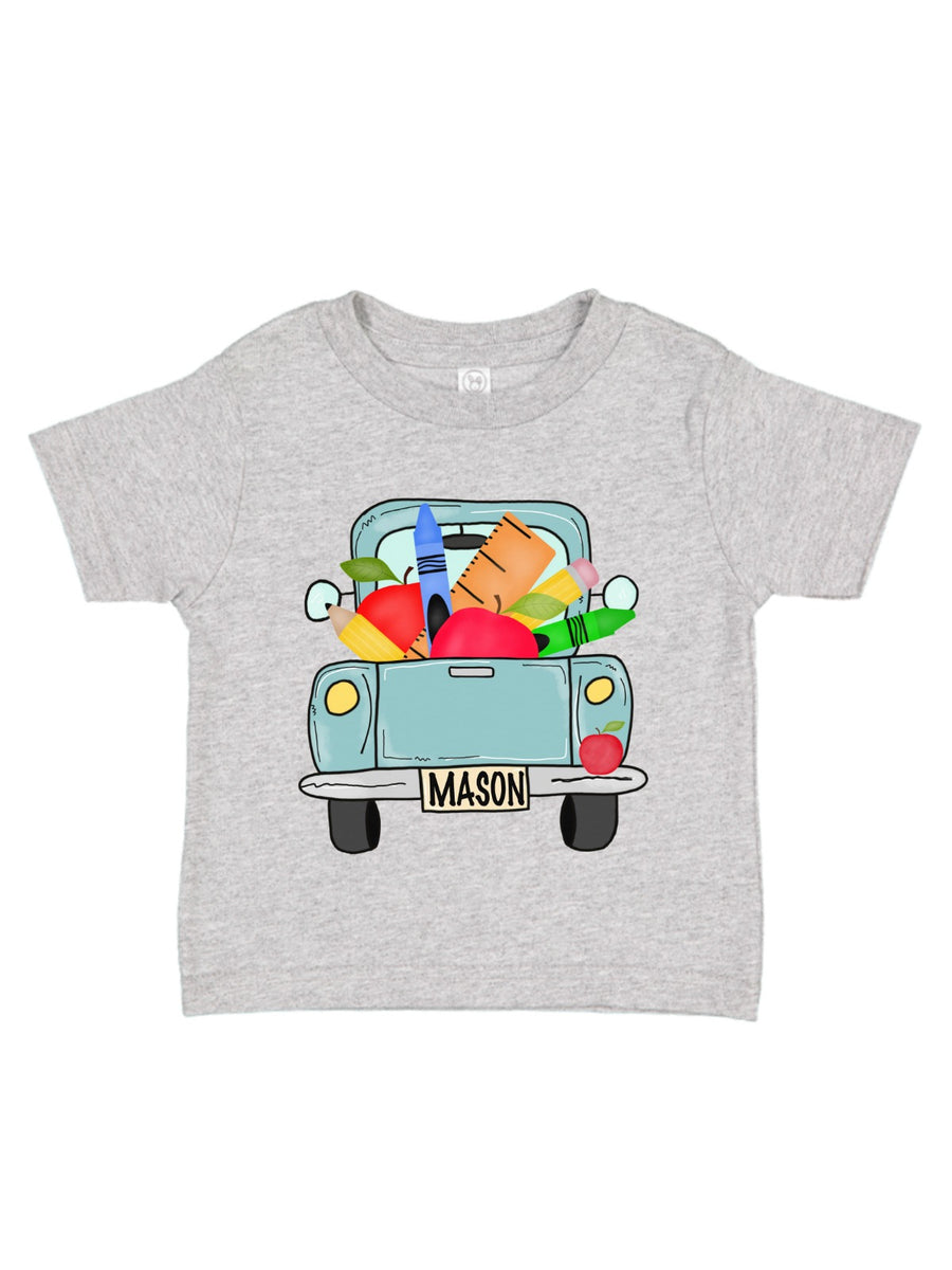 personalized school truck boys shirt
