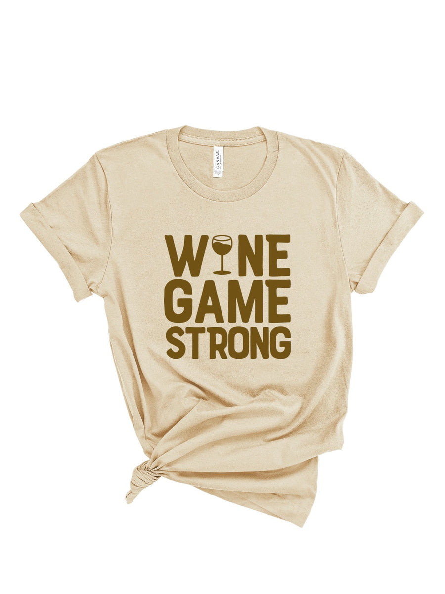 wine game strong womens tee in tan