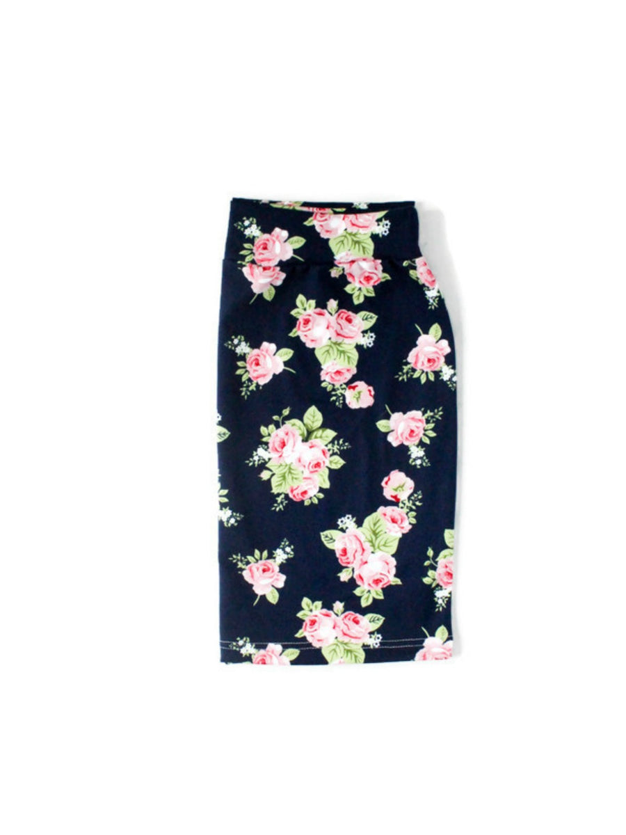Deep Navy Floral Adult Pencil Skirt
