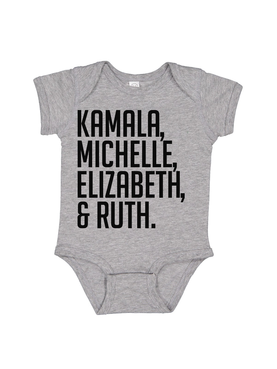 kamala and michelle and elizabeth and ruth baby bodysuit