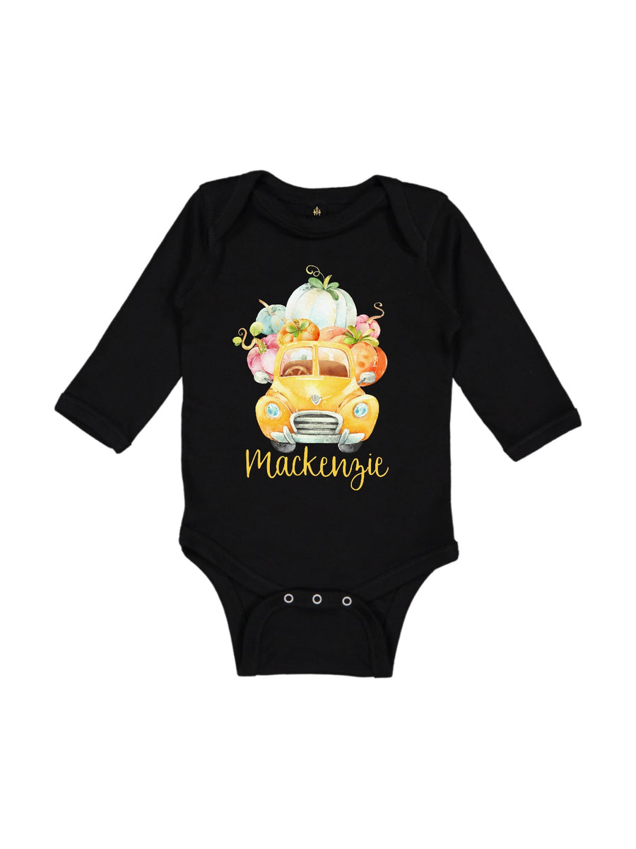 personalized yellow truck full of pumpkins baby girl bodysuit