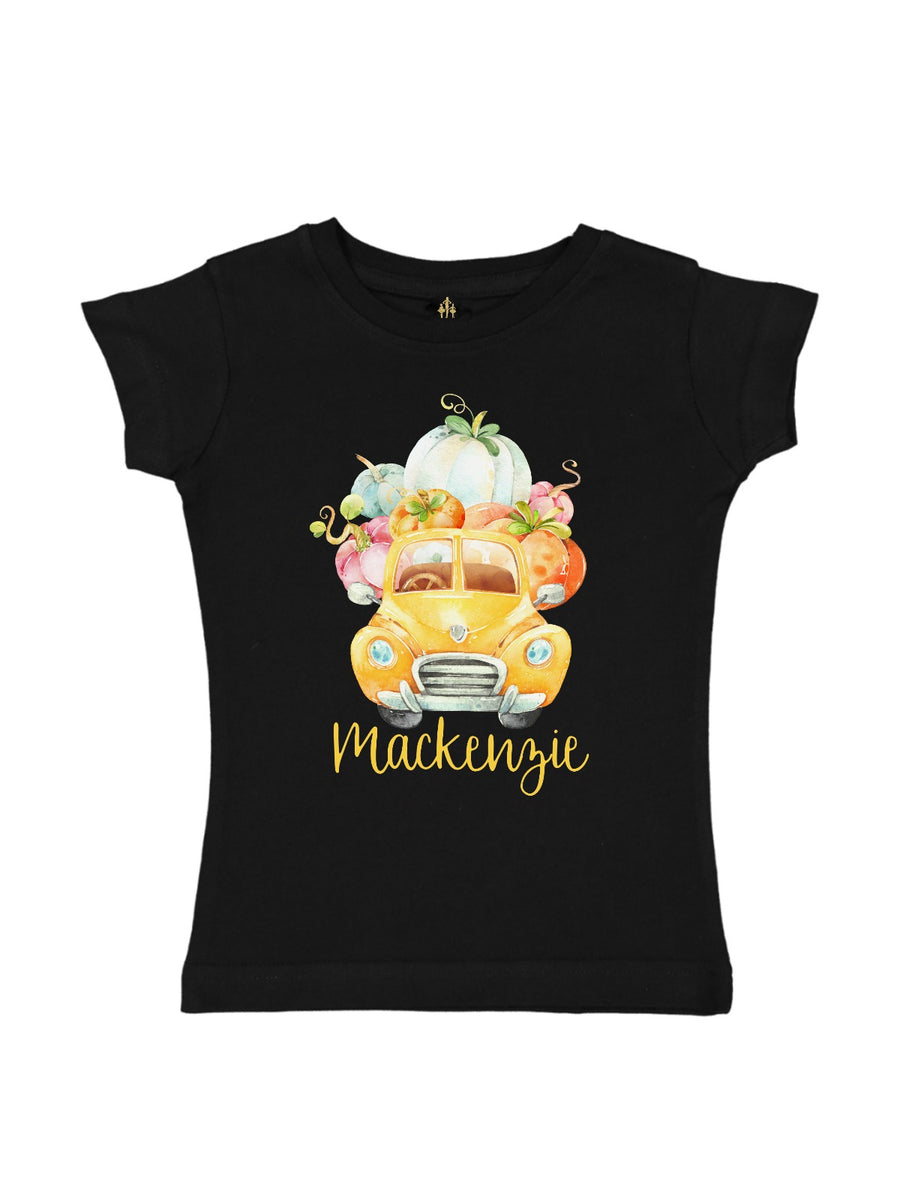 personalized yellow pumpkin truck shirt for girls