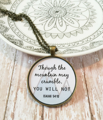 """Isaiah 54:10"" Scripture Necklace -  Christian Jewelry"
