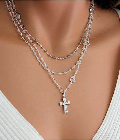 Sterling Silver Layered Rosary Necklace
