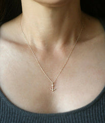 Anchor Necklace 14K Gold Necklace -  Christian Jewelry